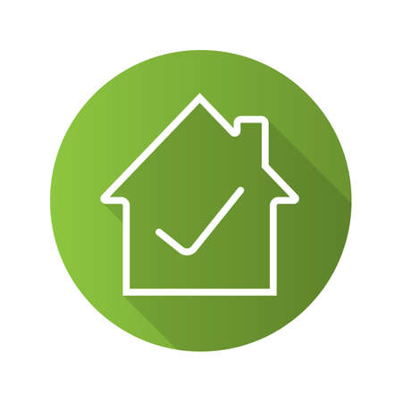 Approved house flat linear long shadow icon. Home building with check mark inside. Vector outline symbol Illustration
