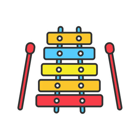 Xylophone color icon. Isolated vector illustration