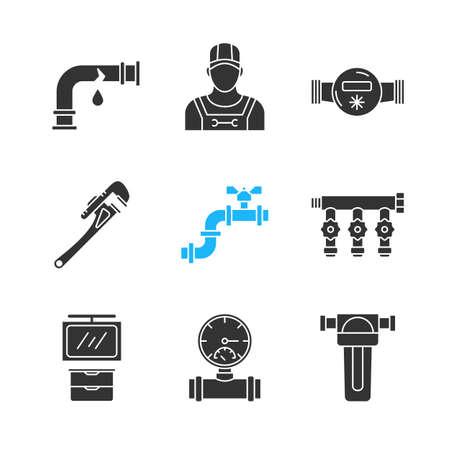 Ensemble d'icônes de glyphe de plomberie. Tuyau cassé, plombier, compteur d'eau et filtre, clé, robinet d'admission, armoire de salle de bain, manomètre. Symboles de la silhouette. Illustration de vecteur isolé