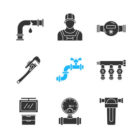 Plumbing glyph icons set. Broken pipe, plumber, water meter and filter, spanner, manifold tap, bathroom cabinet, pressure gauge. Silhouette symbols. Vector isolated illustration.