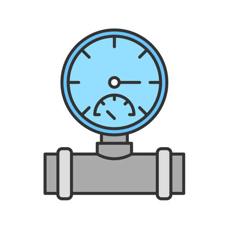 Pressure gauge color icon. Pipe manometer. Isolated vector illustration