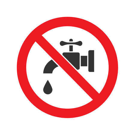 Forbidden sign with faucet glyph icon. Stop silhouette symbol. No drinking water. Negative space. Vector isolated illustration