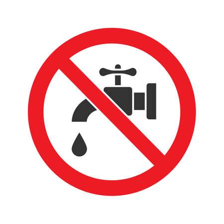 Verboden teken met kraan glyph pictogram. Stop silhouet symbool. Geen drinkwater. Negatieve ruimte. Vector geïsoleerde illustratie Stock Illustratie