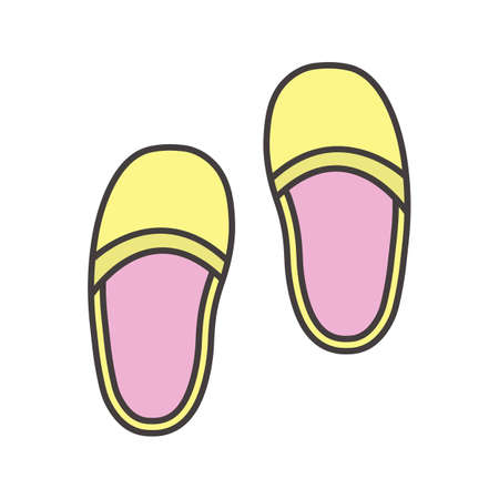 Bedroom slippers color icon. Home shoes. Isolated vector illustration. Ilustrace