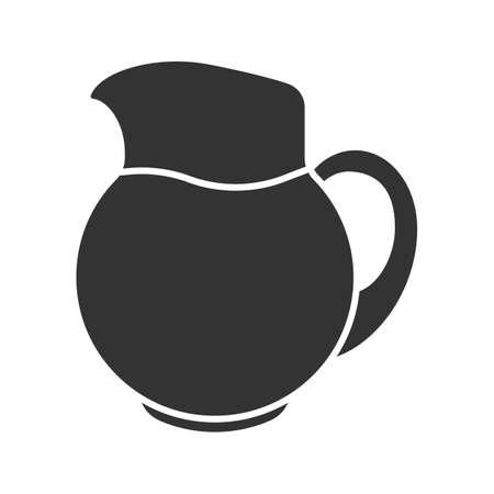 Lemonade jug glyph icon. Silhouette symbol, water, negative space vector isolated illustration. Ilustrace