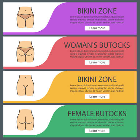Female body parts web banner templates set. Bikini zone, woman's buttocks. Website color menu items. Vector headers design concepts Ilustração
