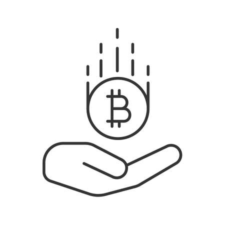 Open hand with bitcoin linear icon. Cryptocurrency. Thin line illustration. Saving money. Contour symbol. Vector isolated outline drawing