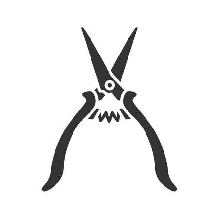 Construction scissors glyph icon. Silhouette symbol. Negative space. Vector isolated illustration