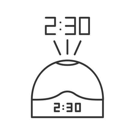 Projection clock linear icon. Thin line illustration. Digital talking clock. Contour symbol. Vector isolated outline drawing