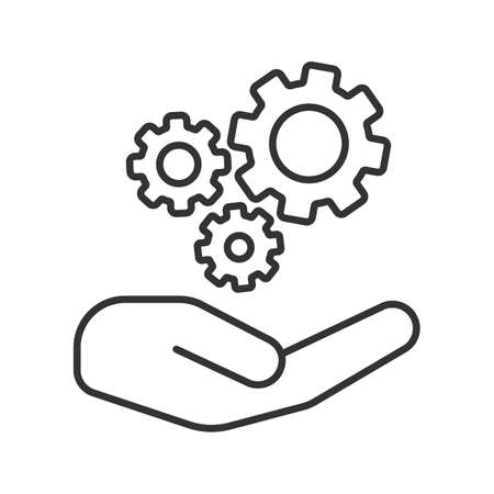 Open hand with cogwheels linear icon. Technical support. Thin line illustration. Technology progress. Contour symbol. Vector isolated outline drawing Illustration