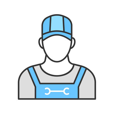 Plumber color icon. Sanitary technician. Isolated vector illustration