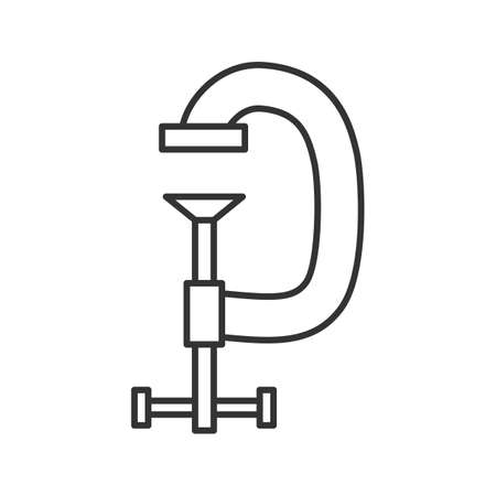 Screw clamp linear icon. Thin line illustration. G-clamp. Contour symbol. Vector isolated outline drawing