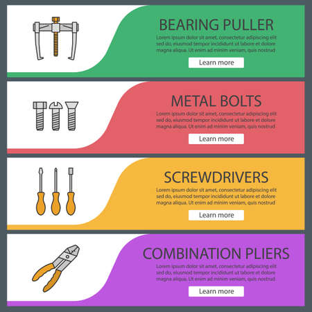 Construction tools web banner templates set. Bearing puller, metal bolts, screwdrivers, combination pliers. Website color menu items vector headers design concepts. Illusztráció