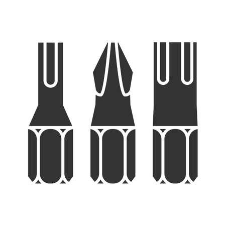 Screwdriver bits glyph icon. Silhouette symbol. Negative space. Vector isolated illustration