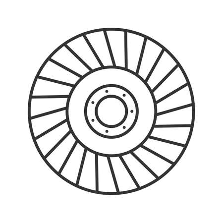 Abrasive flap wheel linear icon. Thin line illustration. Contour symbol. Vector isolated outline drawing