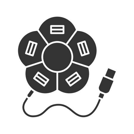 Flower shape USB hub glyph icon. Silhouette symbol. Multi plug. Negative space. Vector isolated illustration
