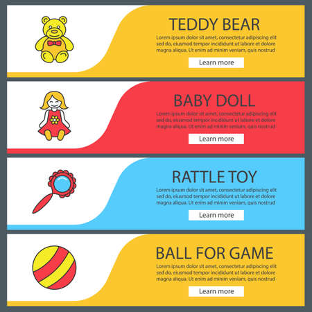 Kids toys web banner templates set. Teddy bear, baby doll, rattle, ball. Website color menu items. Vector headers design concepts Illustration