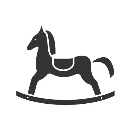 Rocking horse glyph icon. Silhouette symbol. Negative space. Vector isolated illustration Illustration