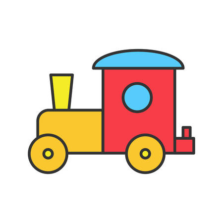 Toy train color icon. Isolated vector illustration