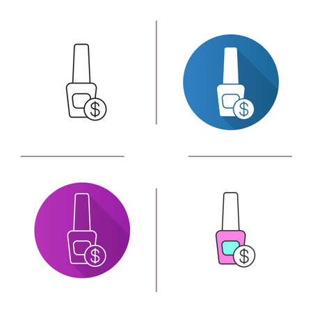 Nail polish price icon. Flat design, linear and color styles. Nail salon service. Isolated vector illustrations