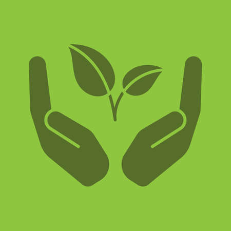 Open palms with sprout glyph color icon. Environment protection. Silhouette symbol. Nature care. Negative space. Vector isolated illustration