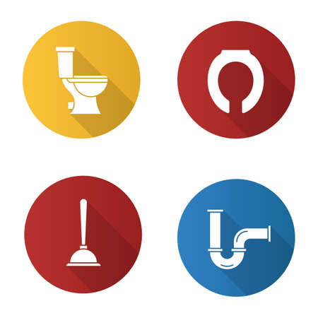 Plumbing flat design long shadow glyph icons set. Lavatory pan, toilet seat, plunger, pipe. Vector silhouette illustration Иллюстрация
