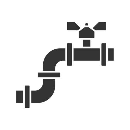 Pipe with valve glyph icon. Silhouette symbol. Water pipe. Negative space. Vector isolated illustration Illustration
