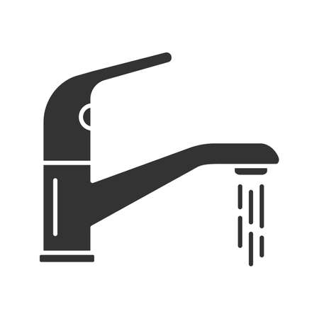 Faucet glyph icon. Silhouette symbol. Water tap. Negative space. Vector isolated illustration Stock Illustratie