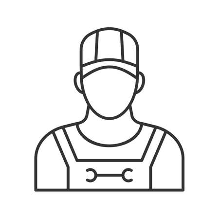 Plumber linear icon. Thin line illustration. Sanitary technician. Contour symbol. Vector isolated outline drawing