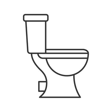 Lavatory pan linear icon. Thin line illustration. Toilet. Contour symbol. Vector isolated outline drawing Ilustração