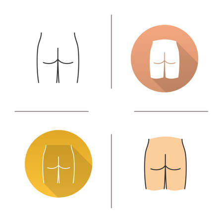 Male bottoms icon vector illustration set