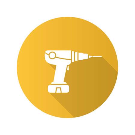 Power drill flat design long shadow glyph icon. Electric screwdriver. Vector silhouette illustration Ilustração