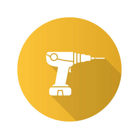 Power drill flat design long shadow glyph icon. Electric screwdriver. Vector silhouette illustration Illustration