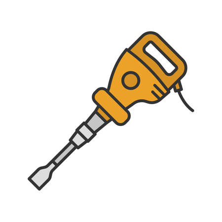 Paving breaker color icon. Air hammer. Isolated vector illustration