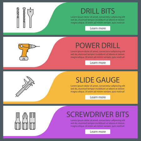 Construction tools web banner templates set. Screwdriver and drill bits, perforator, slide gauge. Website color menu items. Vector headers design concepts