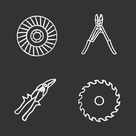 Construction tools chalk icons set. Circular saw blade, crimping tool, abrasive flap wheel, tin snips. Isolated vector chalkboard illustrations