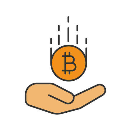 Open hand with bitcoin color icon. Isolated vector illustration Illustration