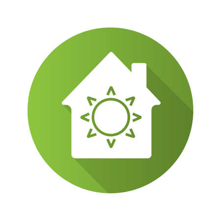 House eco electrification flat design long shadow glyph icon. House with sun inside. Vector silhouette illustration. Illustration