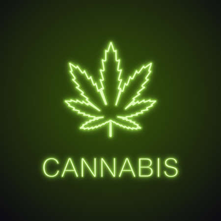 Marijuana leaf neon light icon. Weed glowing sign. Cannabis. Vector isolated illustration.