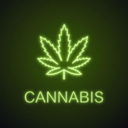 Marijuana leaf neon light icon. Weed glowing sign. Cannabis. Vector isolated illustration.