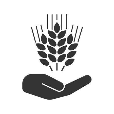 Open hand with wheat ears glyph icon. Silhouette symbol. Growing wheat. Negative space. Vector isolated illustration.