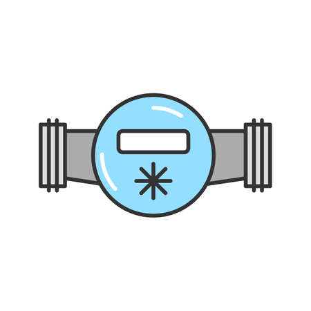 Water meter color icon. Isolated vector illustration