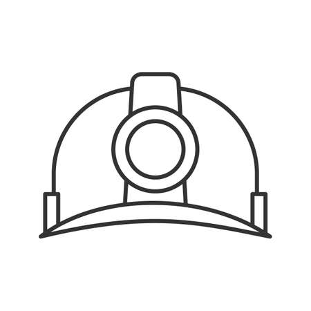 Industrial safety helmet linear icon. Thin line illustration. Miner's hat. Contour symbol. Vector isolated outline drawing.