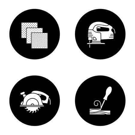 Construction tools glyph icons set. Emery paper, electric jigsaw, wood chisel, circular saw. Vector white silhouettes illustrations in black circles Illustration