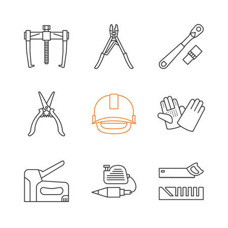 Construction tools linear icons set. Bearing puller, crimping tool, ratchet, industrial safety helmet, stapler, plumb bob, mitre box. Thin line contour symbols. Isolated vector outline illustrations