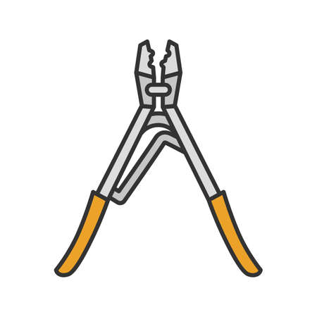Crimping tool color icon. Isolated vector illustration Illustration