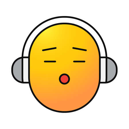 Smile with earphones color icon. Listening to music smiley. Isolated vector illustration