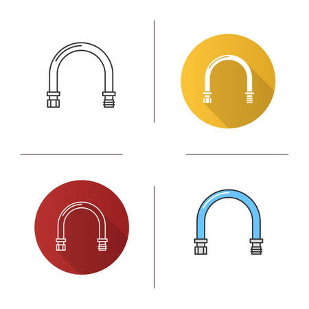 Pipe icon flat design, linear and color styles isolated vector illustrations. Illustration