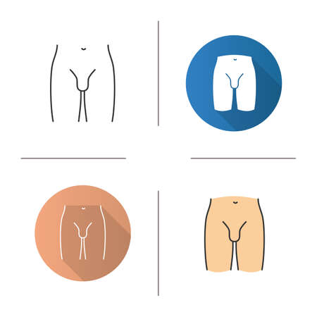 Male groin icon. Flat design, linear and color styles. Isolated vector illustrations Vettoriali