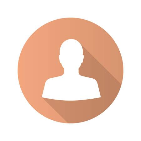Icona del glifo con ombra lunga design piatto utente. Vista frontale del volto dell'uomo. Illustrazione di sagoma vettoriale